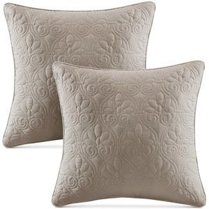 NEW Madison Park Decorative Quilted Pillows  Set of 2 - Khaki